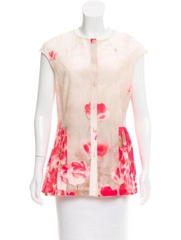 Lela Rose Silk-Blend Top None