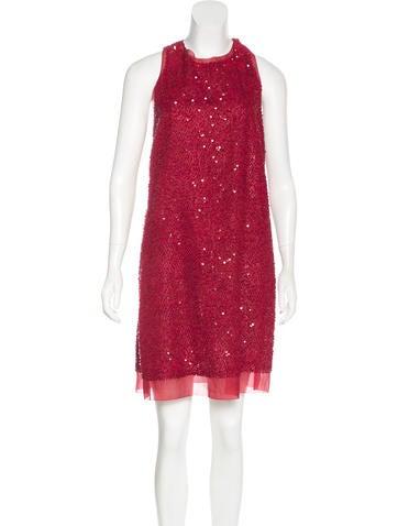 Lela Rose Silk-Trimmed Embellished Dress None