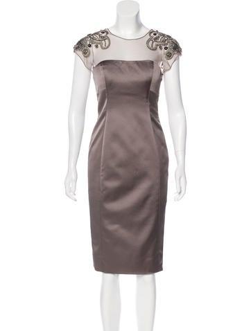 Lela Rose Satin Embellished Dress None