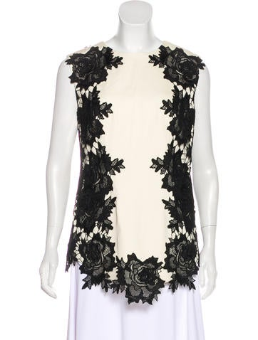 Lela Rose Lace-Trimmed Sleeveless Top None