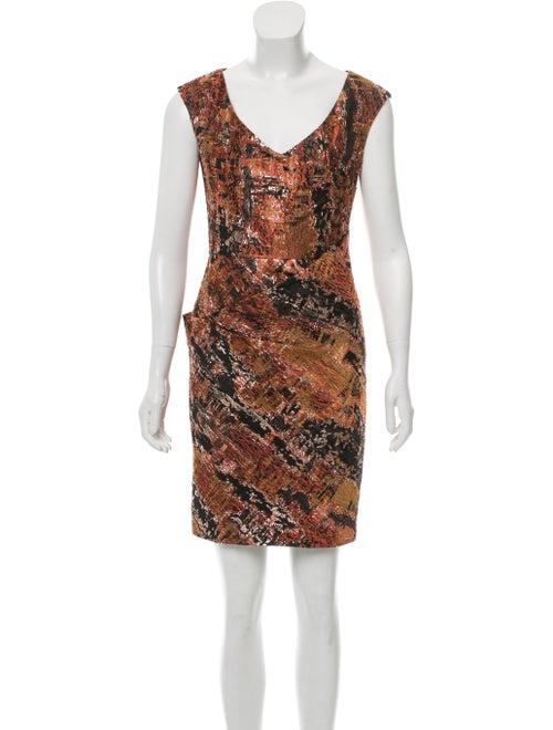 Lela Rose Jacquard Mini Dress Pink