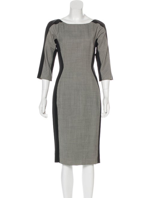 Lela Rose Wool Houndstooth Dress Grey