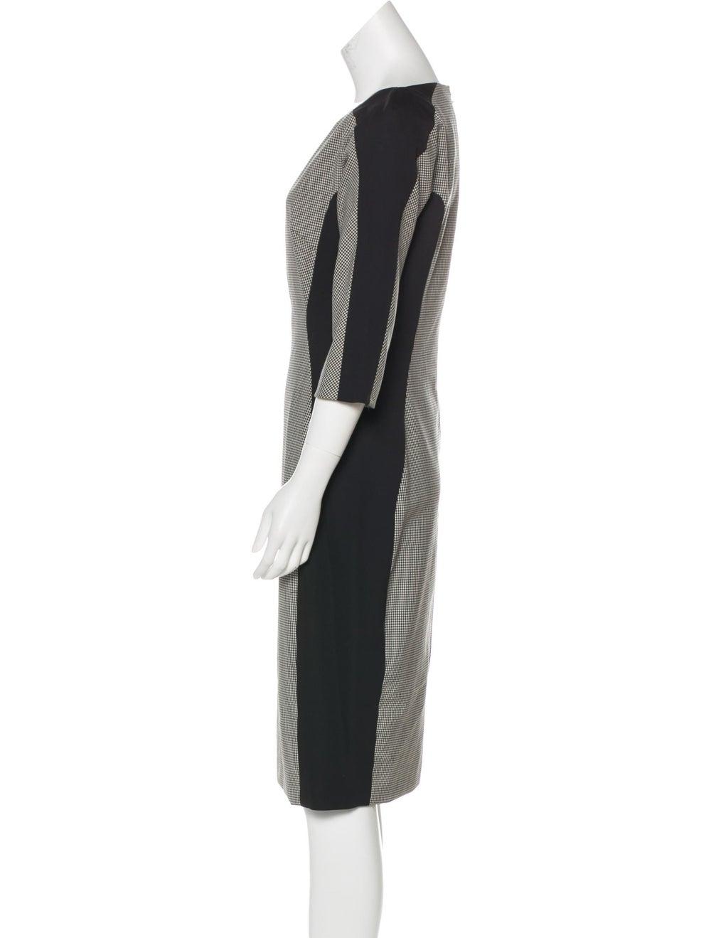 Lela Rose Wool Houndstooth Dress Grey - image 2