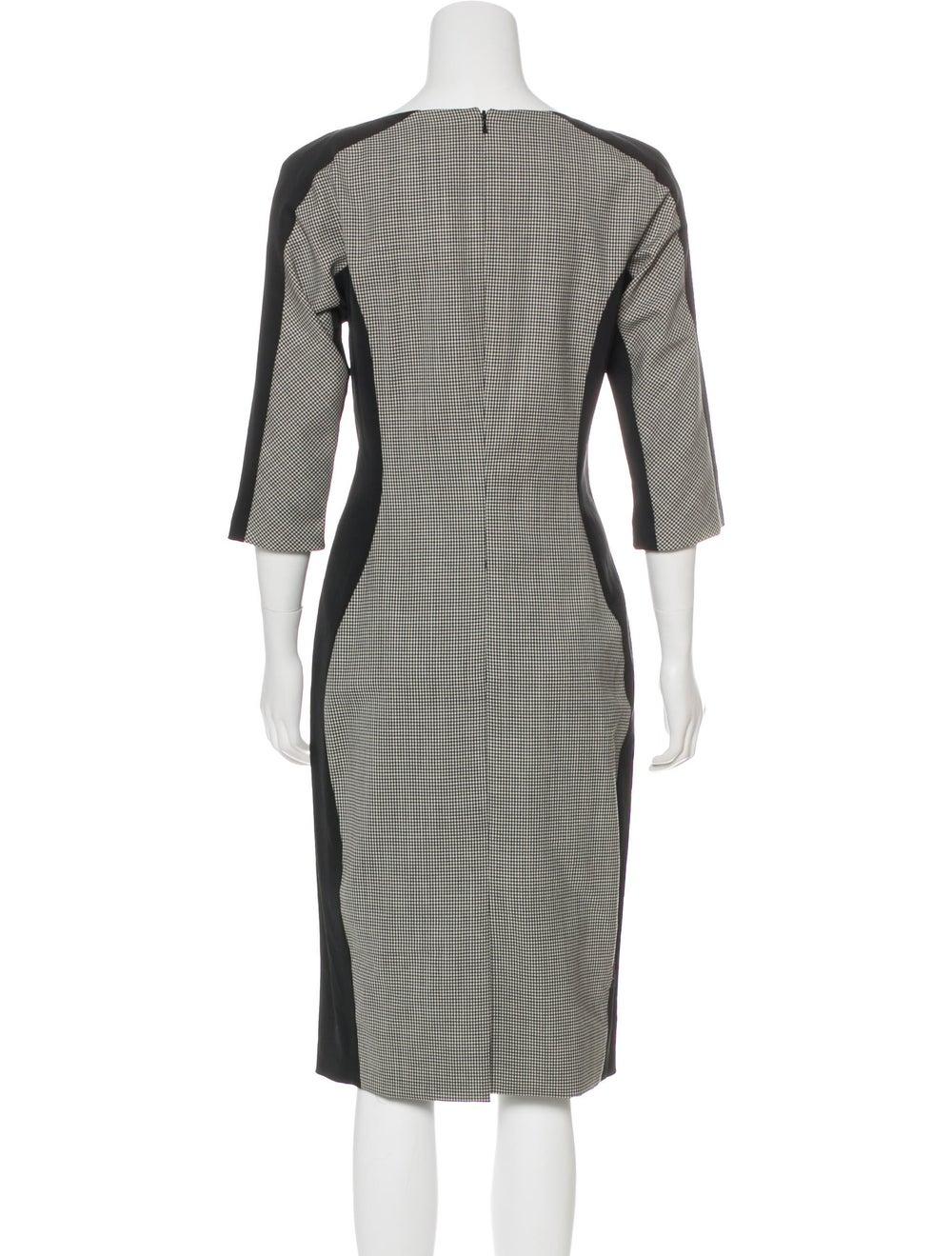 Lela Rose Wool Houndstooth Dress Grey - image 3