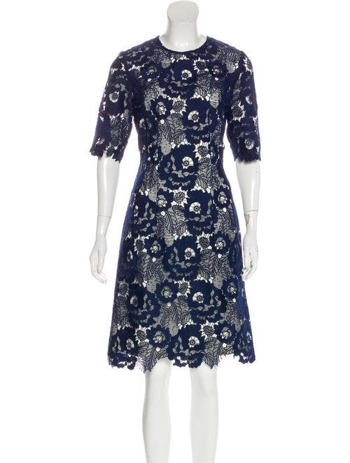Lela Rose Lace Midi Dress Navy