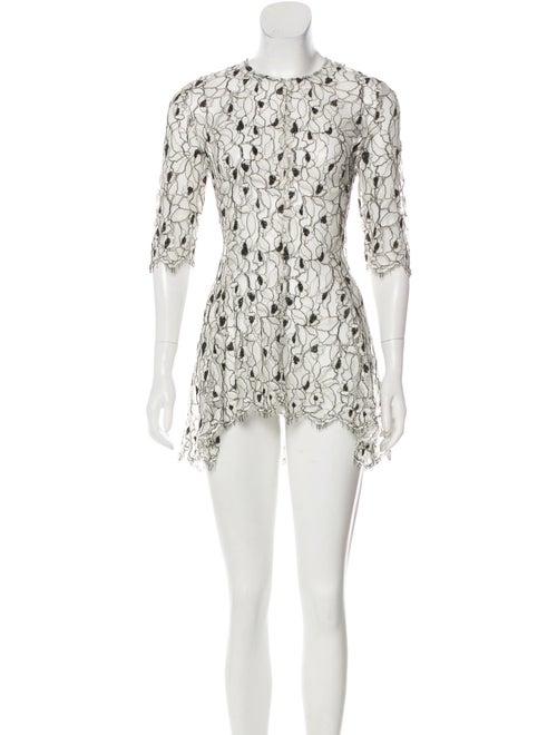 Lela Rose Lace Mini Dress White