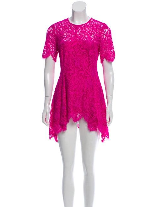 Lela Rose Lace Mini Dress Magenta