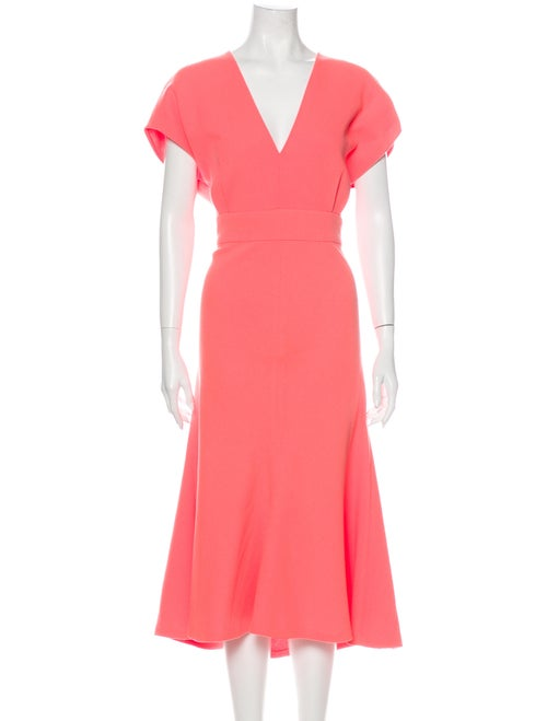 Lela Rose Wool Long Dress Rose