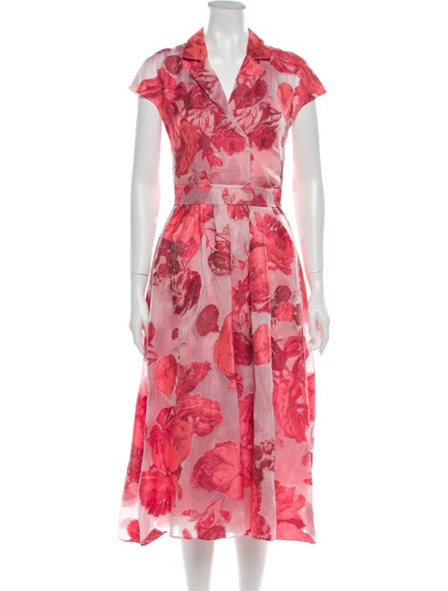 Lela Rose Floral Print Midi Length Dress Rose