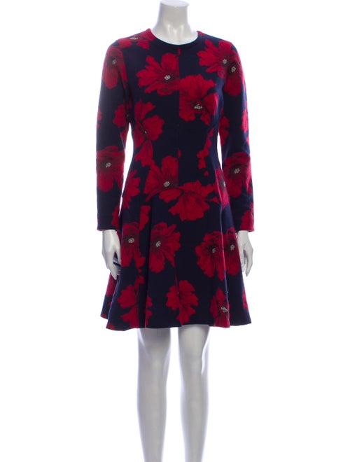 Lela Rose Floral Print Mini Dress Rose
