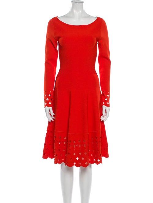 Lela Rose Scoop Neck Knee-Length Dress Rose