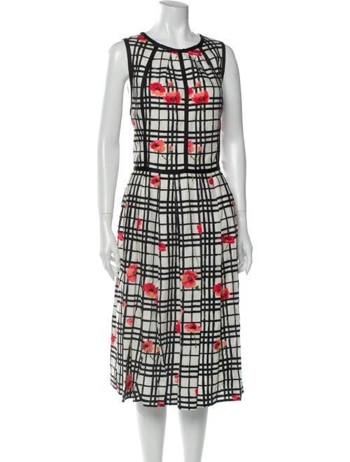 Lela Rose Plaid Print Midi Length Dress Rose