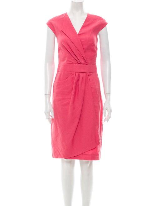 Lela Rose Linen Knee-Length Dress Rose