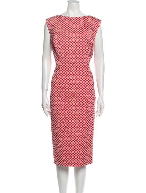 Lela Rose Polka Dot Print Midi Length Dress Rose