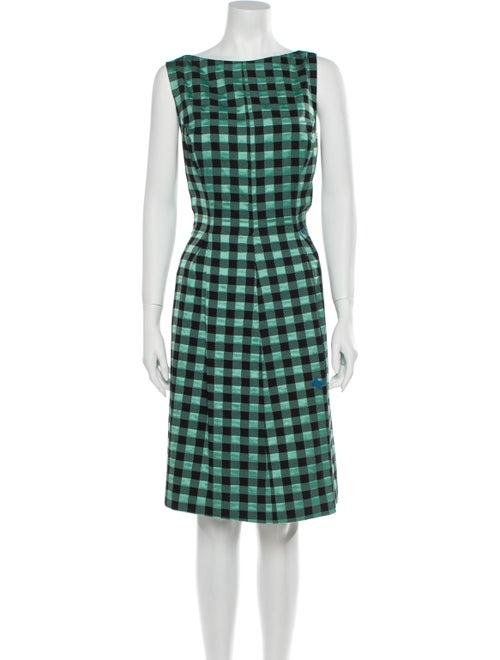 Lela Rose Plaid Print Knee-Length Dress Rose