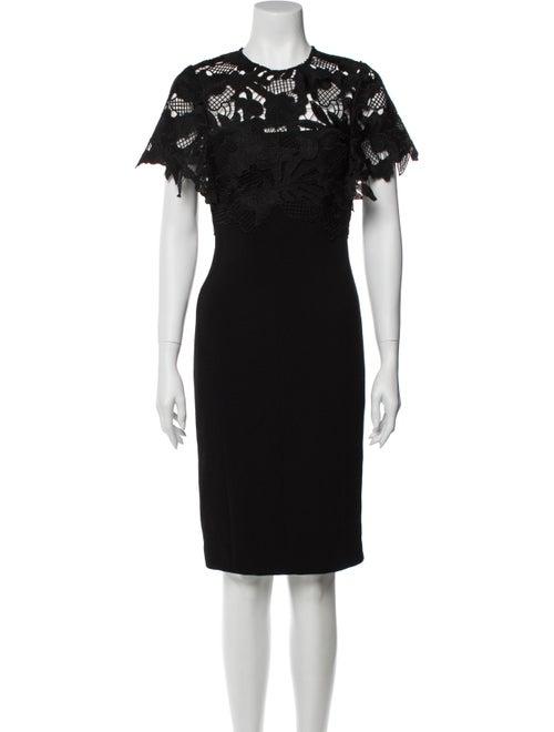 Lela Rose Lace Pattern Knee-Length Dress Rose