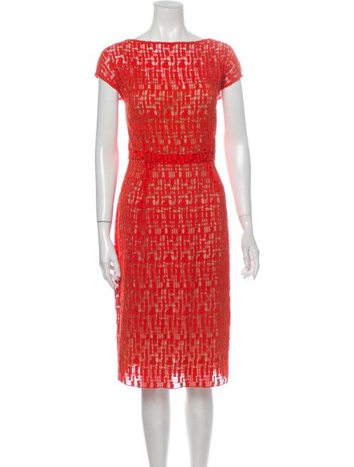 Lela Rose Printed Midi Length Dress Rose