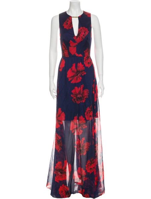 Lela Rose Floral Print Long Dress w/ Tags Rose