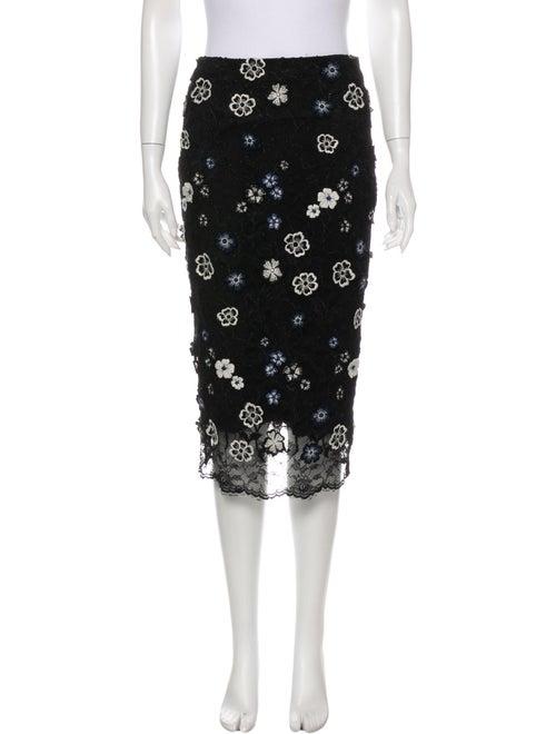 Lela Rose Floral Print Knee-Length Skirt Rose