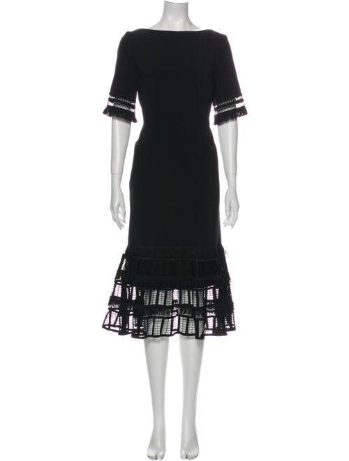 Lela Rose Bateau Neckline Midi Length Dress Rose