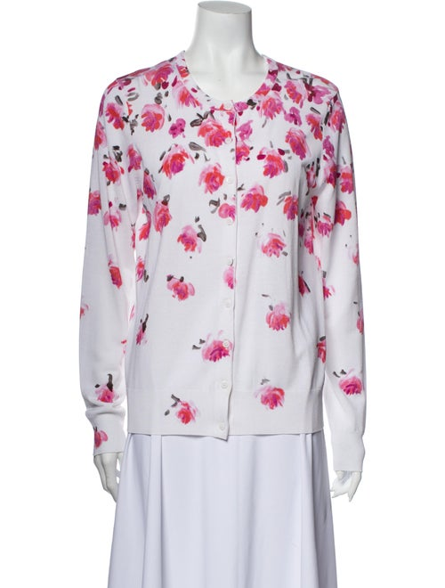 Lela Rose Floral Print Crew Neck Sweater Rose