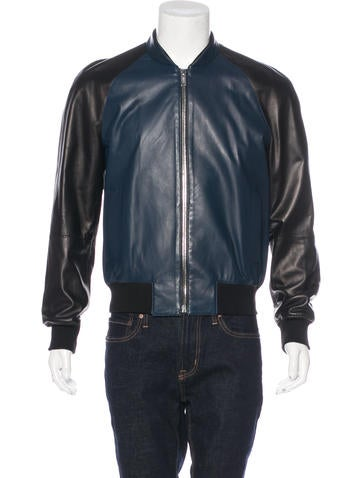 Les Hommes Leather Bomber Jacket None