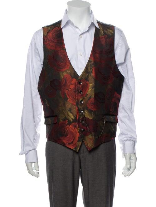 Lords & Fools Floral Print Suit Vest Red