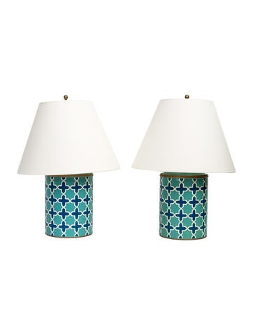 Hand-Painted Metal Table Lamps