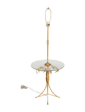 Floor lamp w glass table top lighting lghti20063 for Silver tone floor lamp