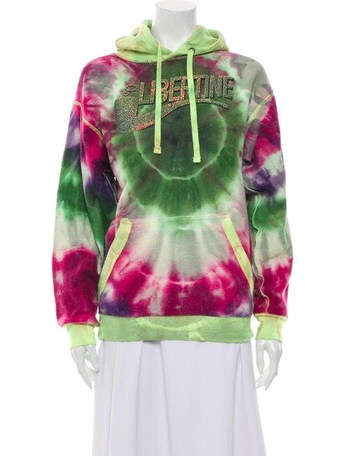 Libertine Tie-Dye Print Mock Neck Sweatshirt Green