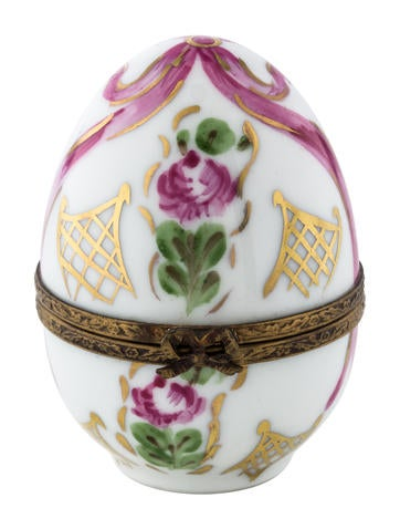 Limoges Hand-Painted Porcelain Egg None