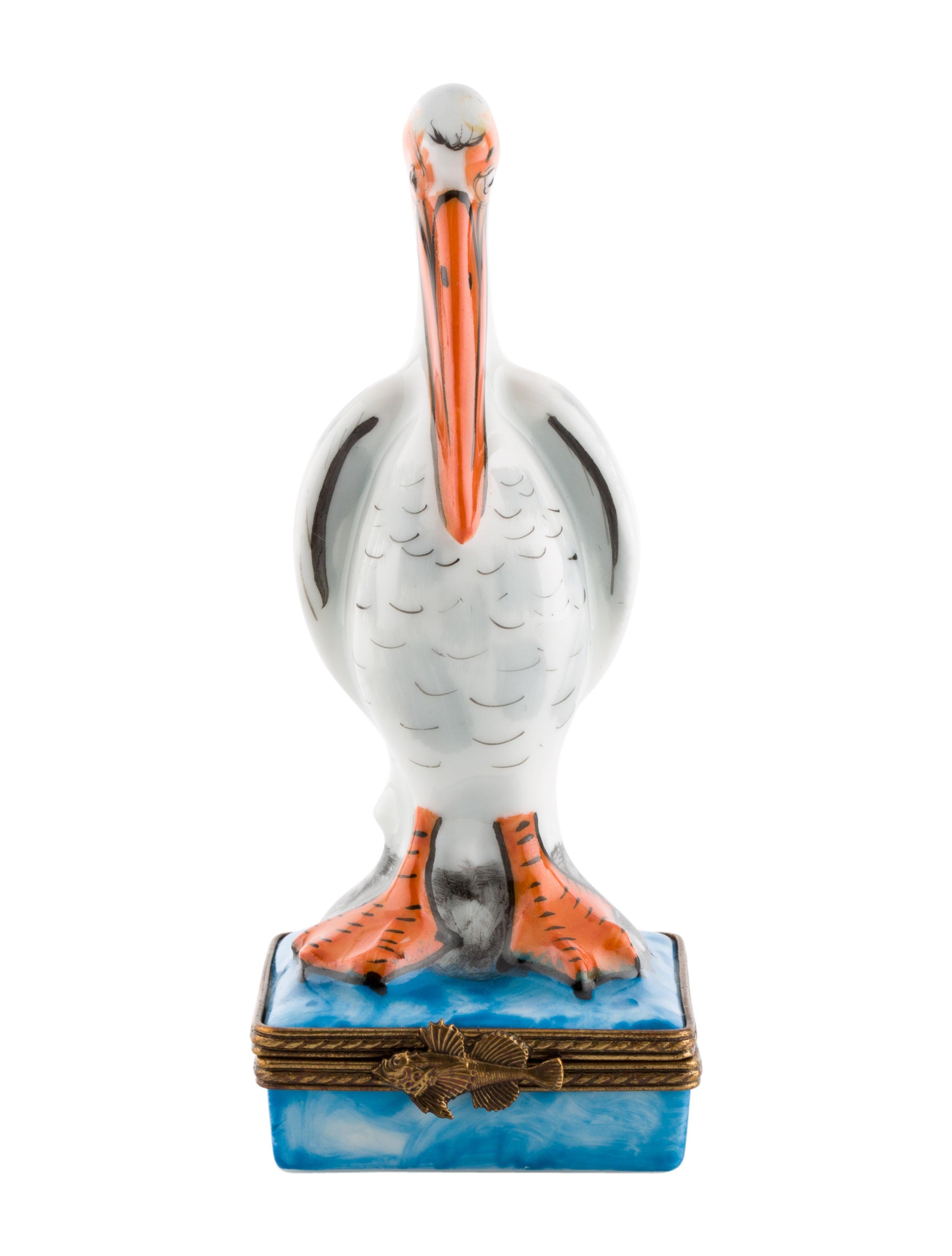 Limoges Porcelain Pelican Box Decor And Accessories