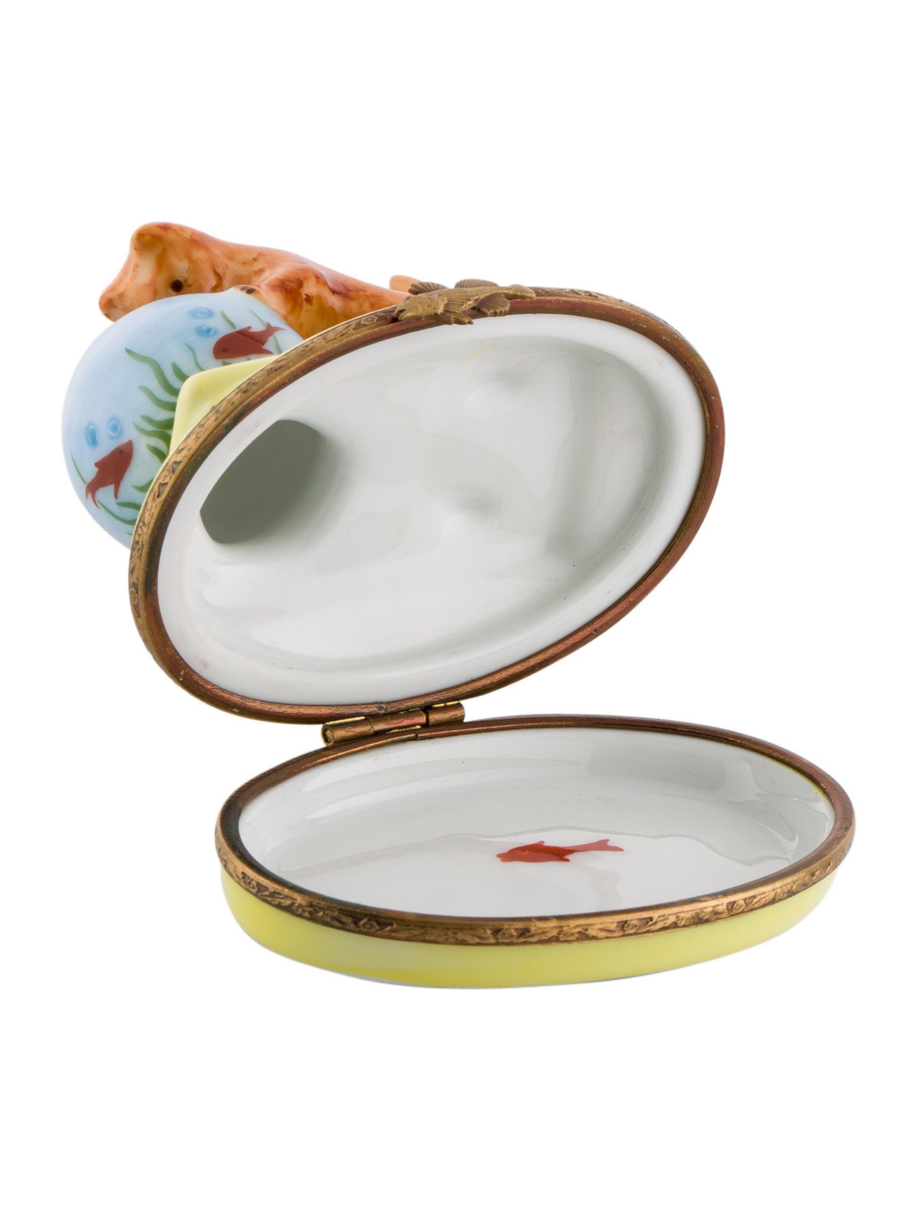 limoges porcelain cat fishbowl box decor and. Black Bedroom Furniture Sets. Home Design Ideas
