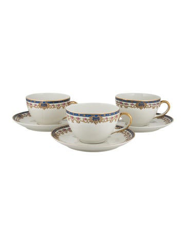 Limoges 6-Piece Baltman & Co Teacups and Saucers None