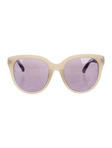 Linda Farrow Snakeskin-Accented Oversize Sunglasses