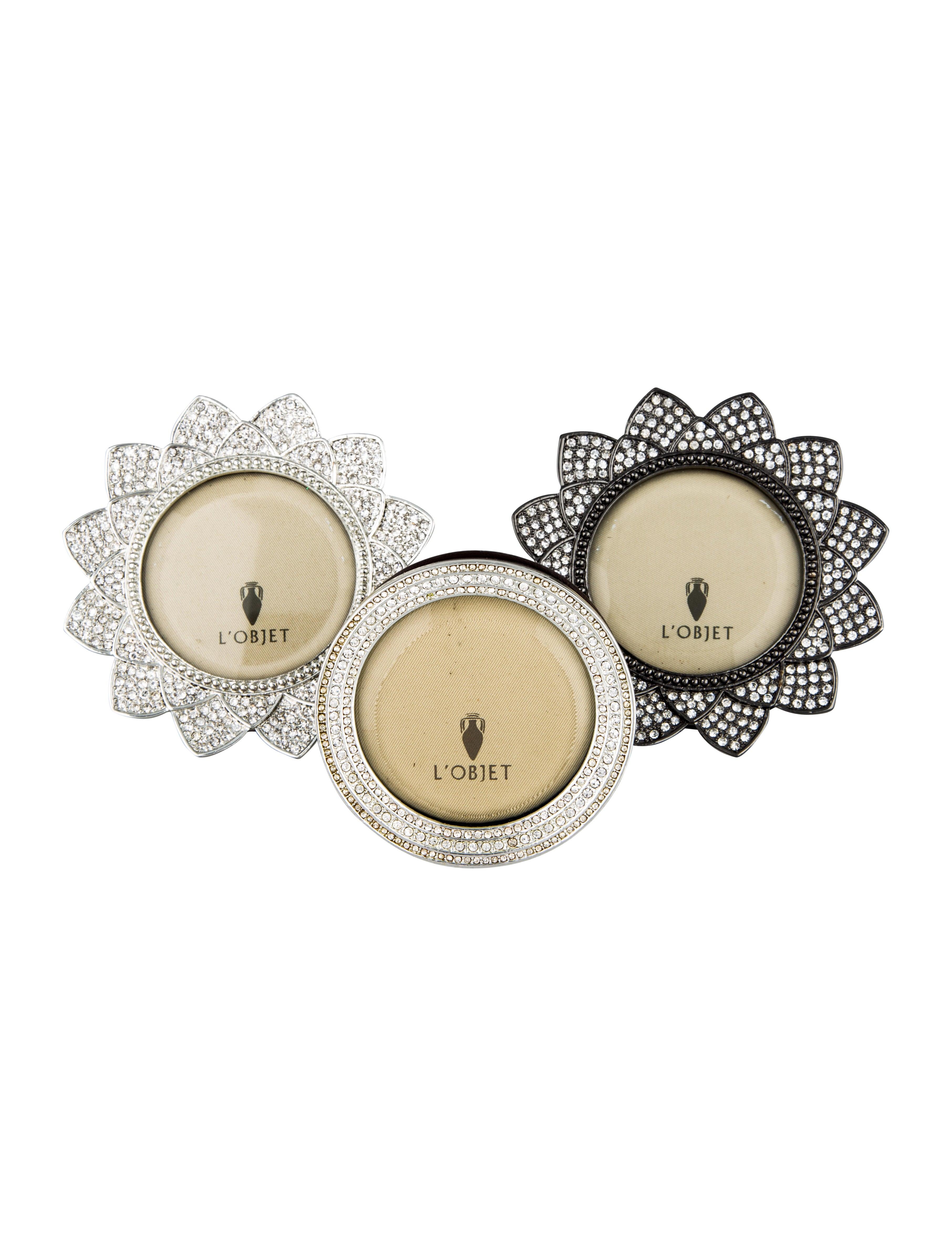 L\'Objet Set of 3 Mini Embellished Picture Frames - Decor And ...