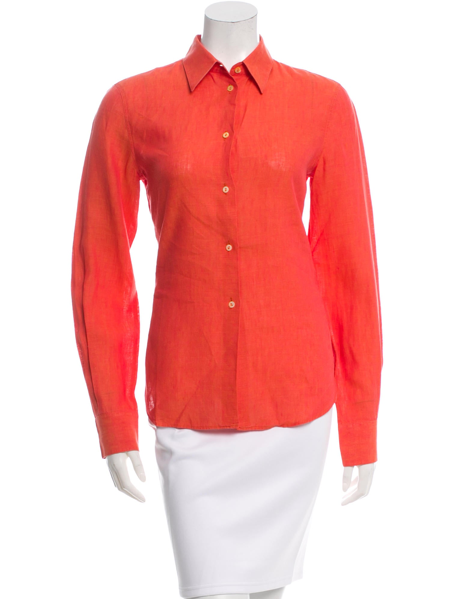 Loro piana linen button up top clothing lor30806 the for Linen button up shirt womens