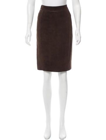 Loro Piana Suede Knee-Length Skirt