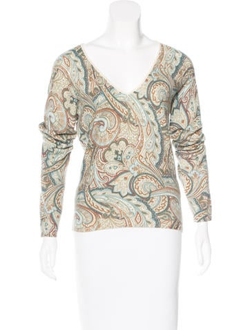 Loro Piana Cashmere Paisely Print Sweater None