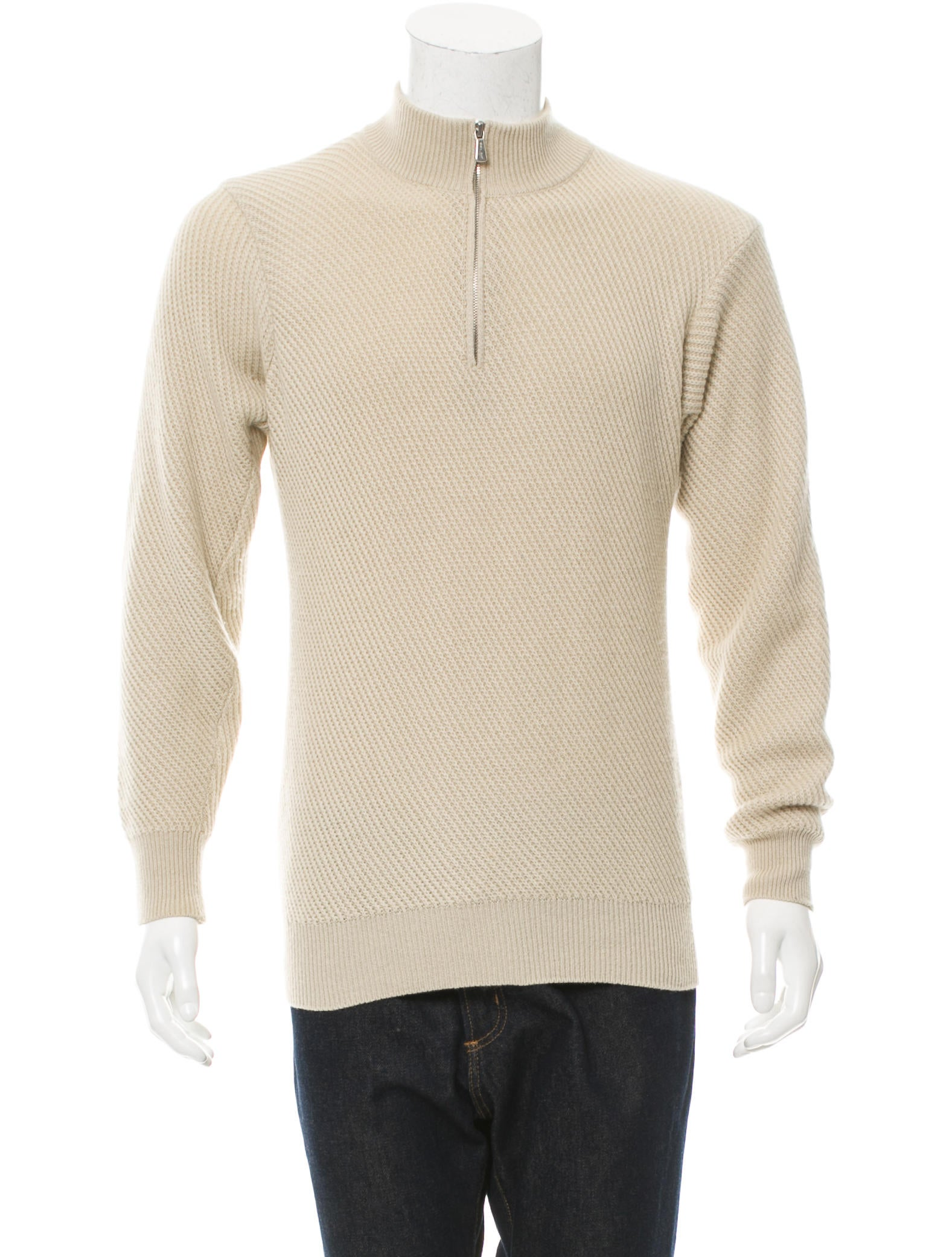 Loro Piana Rib Knit Half-Zip Sweater - Clothing - LOR34488 The RealReal
