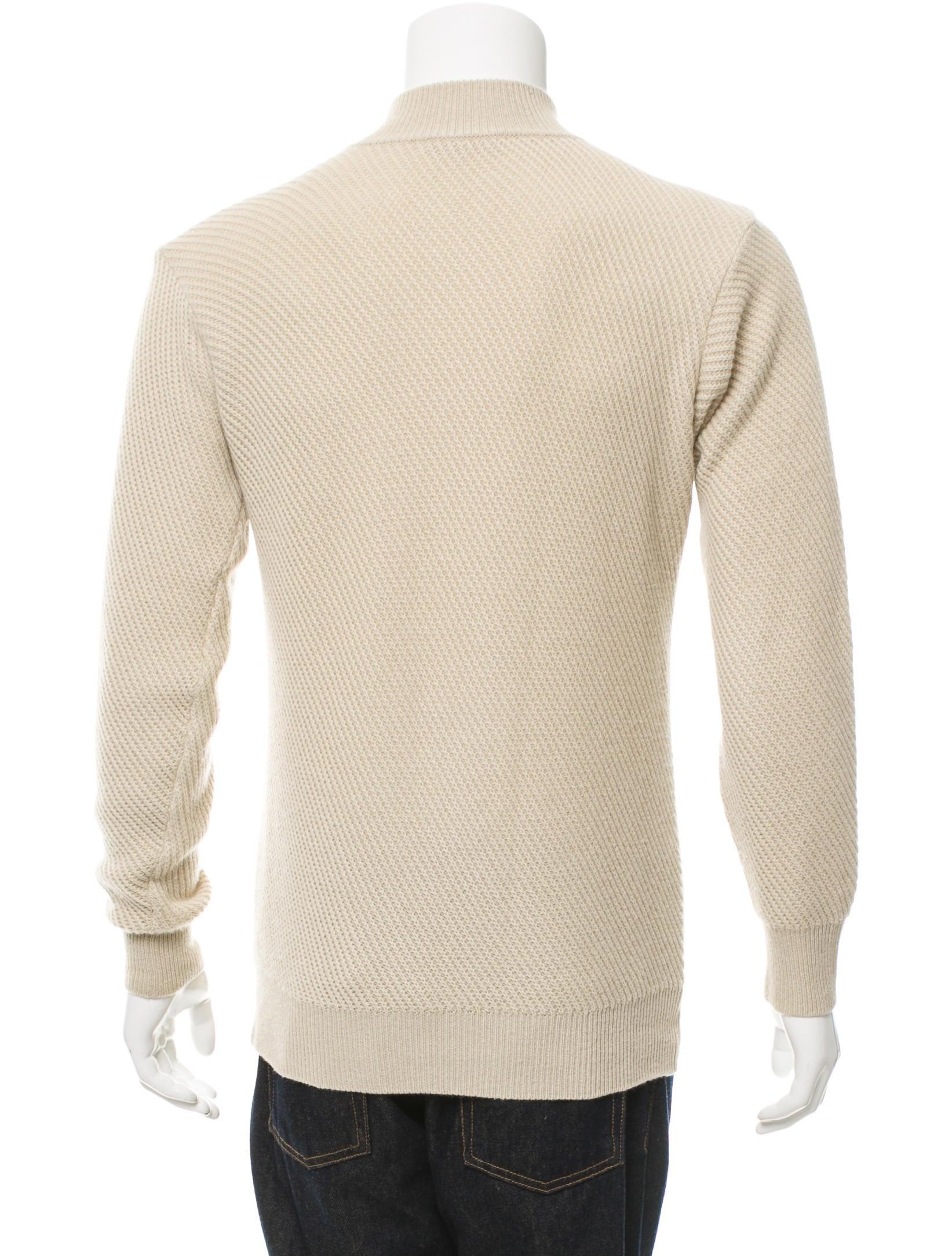 Knitting Pattern Half Zip Sweater : Loro Piana Rib Knit Half-Zip Sweater - Clothing - LOR34488 The RealReal