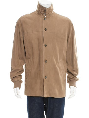 Loro Piana Nubuck Rib Knit-Trimmed Jacket None