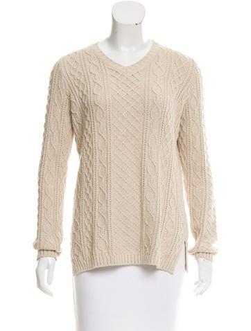 Loro Piana Cable Knit V-Neck Sweater None