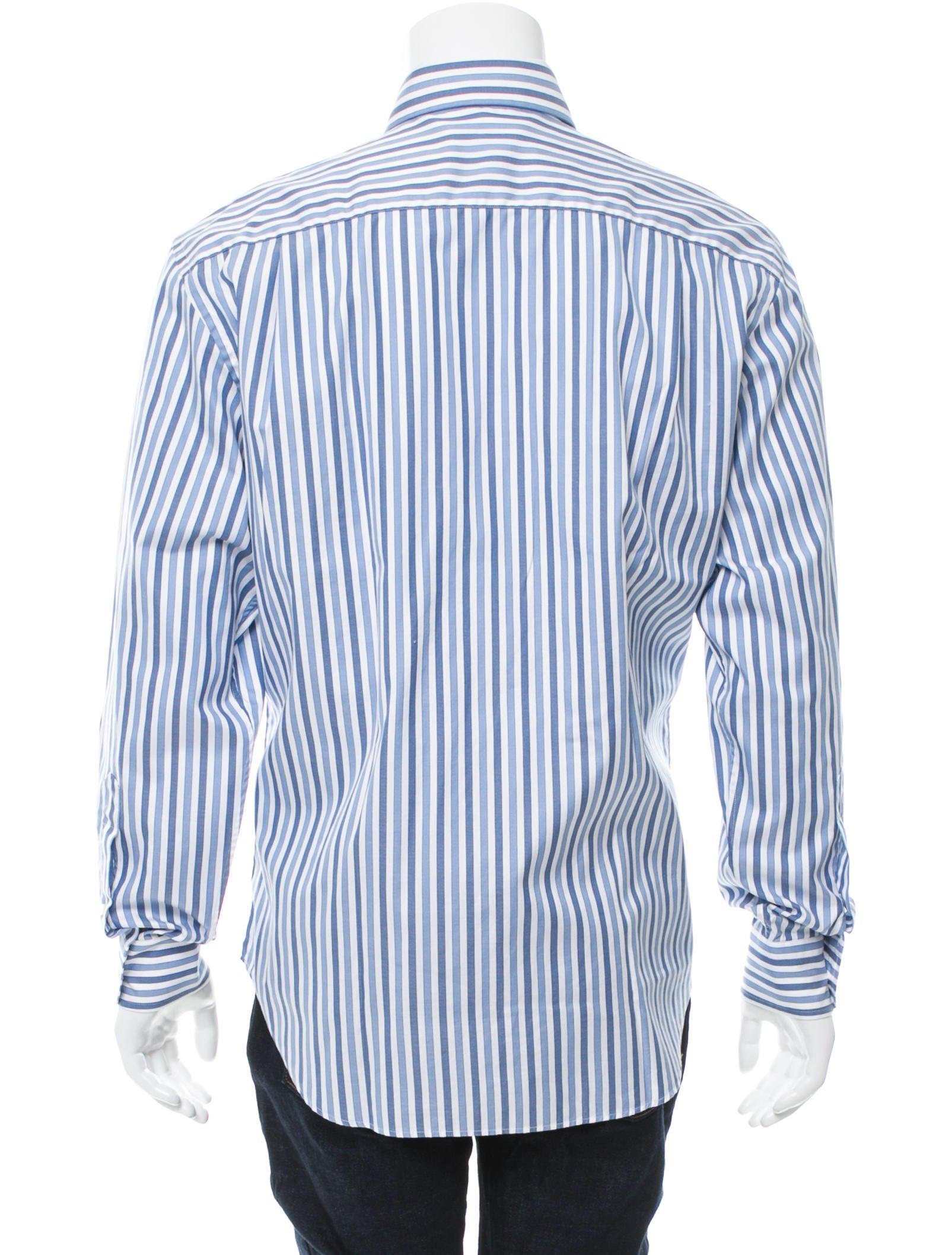 Loro piana striped button up shirt clothing lor36126 for Striped button up shirt mens