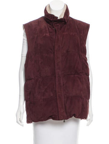 Loro Piana Suede Quilted Vest w/ Tags None