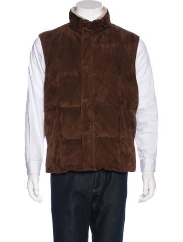 Loro Piana Suede Quilted Down Vest None
