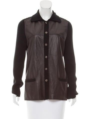 Loro Piana Leather-Trimmed Rib Knit Cardigan None