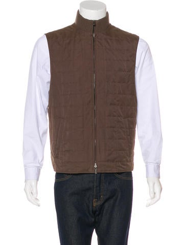 Loro Piana Quilted Rib Knit-Trimmed Vest None