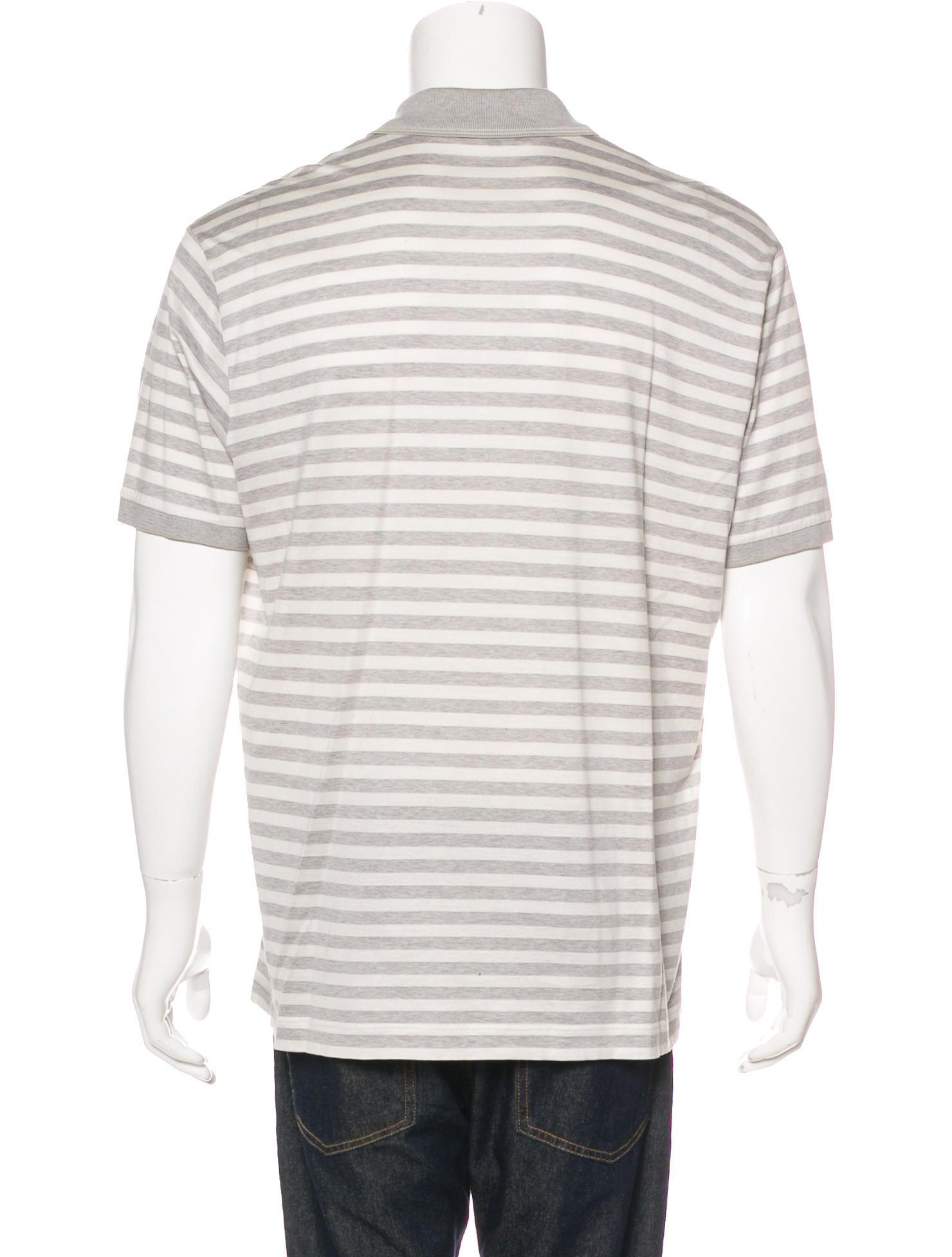Loro Piana Silk Blend Striped Polo Shirt Clothing