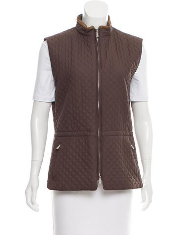 Loro Piana Leather-Trimmed Quilted Vest None